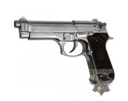 Страйкбольный пистолет Beretta M92S, металл, хром