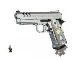 Страйкбольный пистолет Hi-CAPA 3.8, металл, хром