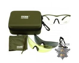 Очки защитные deltaдляce, 3 смен. Монолинзы, олива