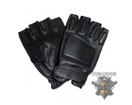 перчатки с защитой без пальцев кожаные размер: M цвет: черный