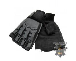 Перчатки с пластиковой защитой суставов без пальцев размер: L
