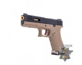 Пистолет WE Glock 17 T6 (gold barrel/tan frame)