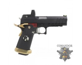 Пистолет AW Custom HX26 Hi-Capa with Docter Gas Blowback Pistol - Black / Gold